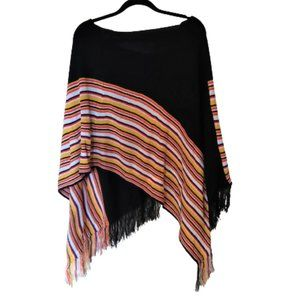 Light striped cover up fringed poncho top sweater